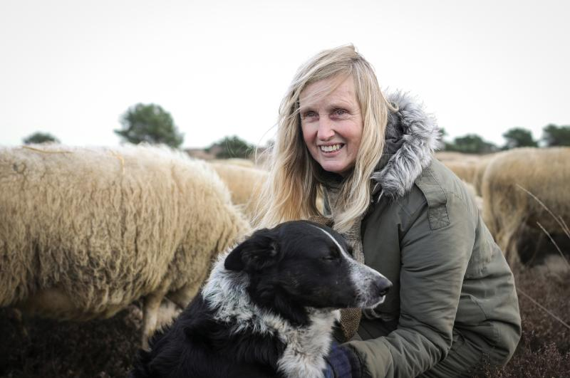 met puckie bij de schapen